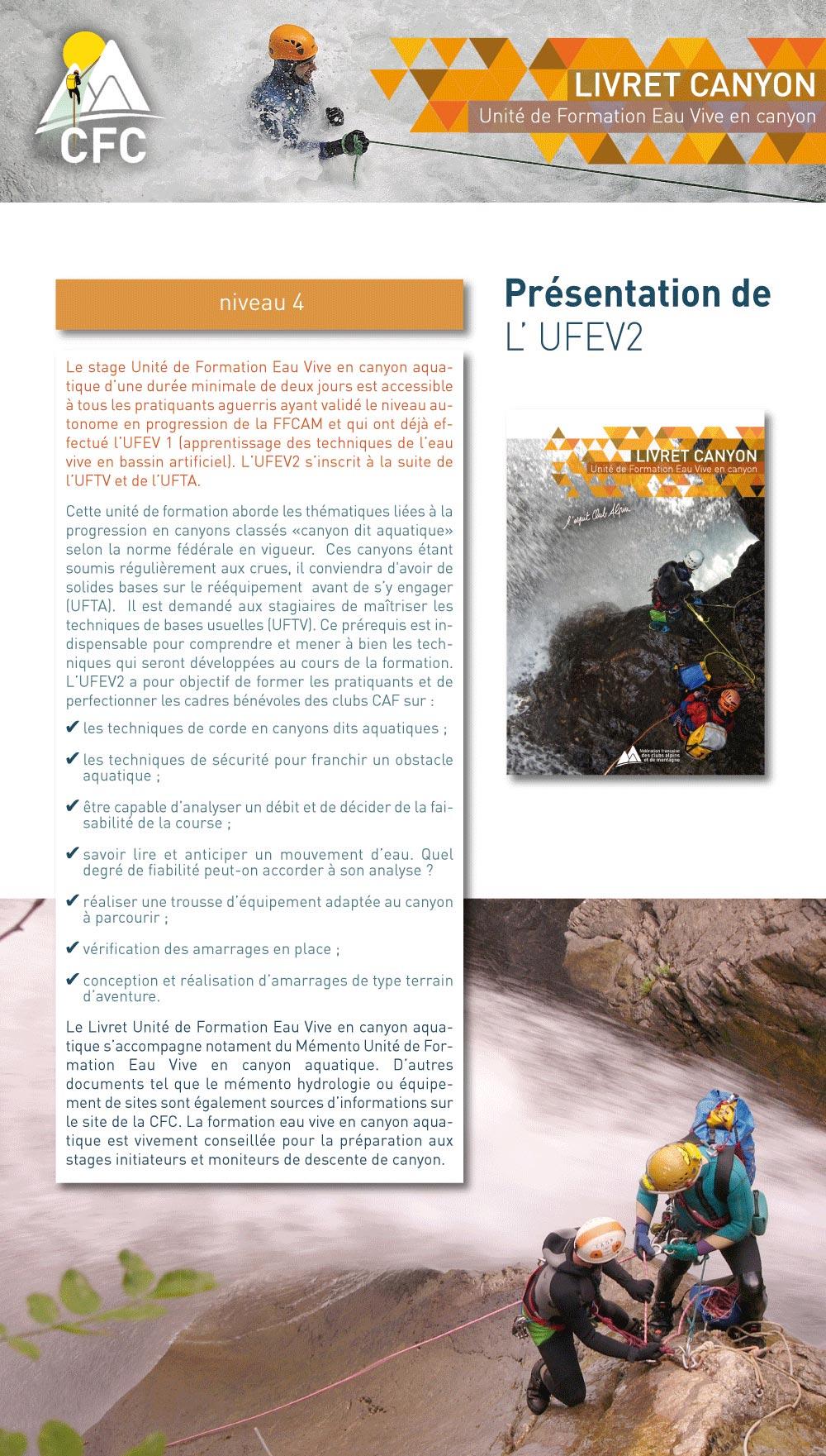 présentation de l'unité de formation eau-vive en canyon de la FFCAM