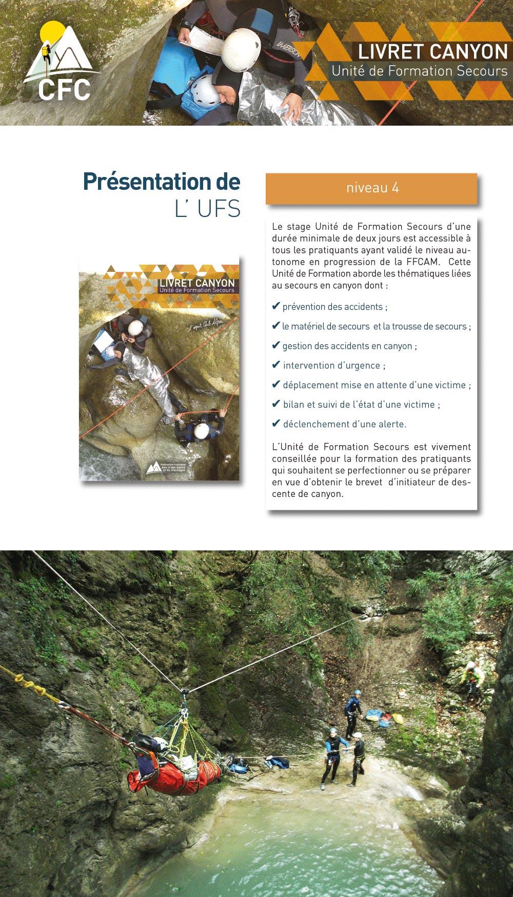 présentation de l'unité de formation secours en canyon de la FFCAM