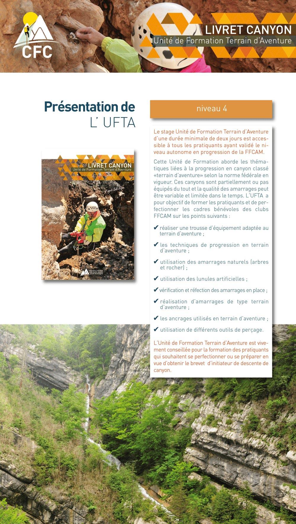 présentation de l'unité de formation terrain d'aventure en canyon de la FFCAM
