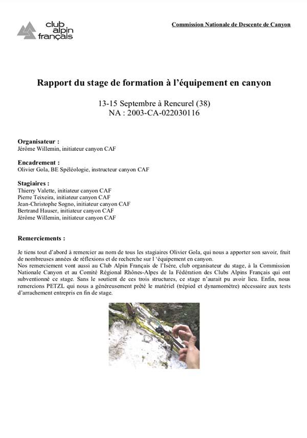 formation équipement des canyons GOLA Olivier