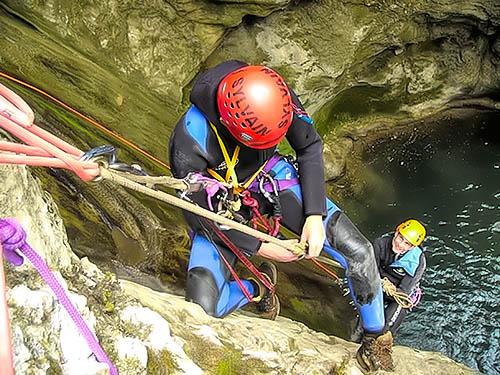 exercice secours en canyon remonté équipier