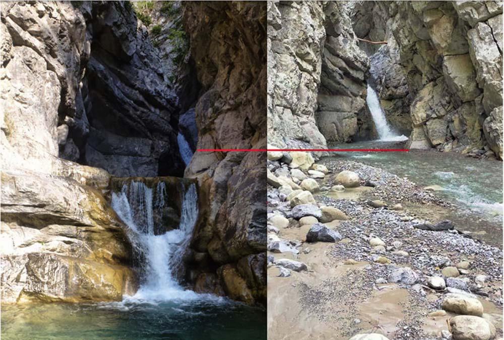 les effets de la crue en canyon
