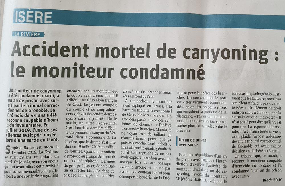 condamnation d'un moniteur canyon