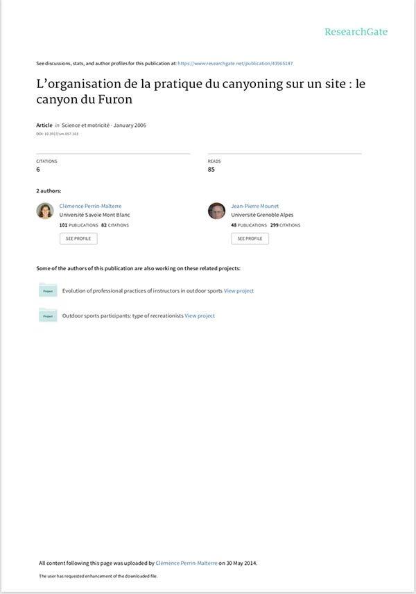 Organisation de la p^ratique canyon du Furon
